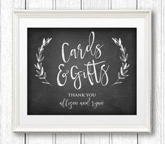 Cards and Gifts Wedding Sign Instant Download by MintyPaperieShop