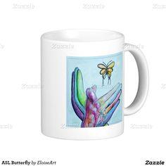 ASL Butterfly Classic White Coffee Mug