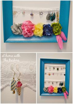 DIY Jewelry Organizer using Eyelet Lace and a frame! #jewelry #organization
