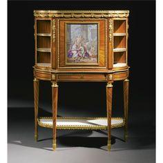 A Sèvres Royal Portrait Porcelain Plaque painted by Charles Nicolas Dodin (1734-1803), probably for the Comte D'Artois, later mounted on a gilt-bronze-mounted tulipwood and amaranth Secrétaire à Abattant, stamped M. Carlin JME, The plaque dated 1774, the secrétaire Louis XVI, Circa 1785.
