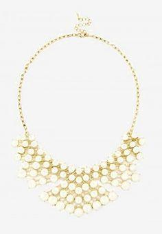 Cluster Bib Necklace  - Cream