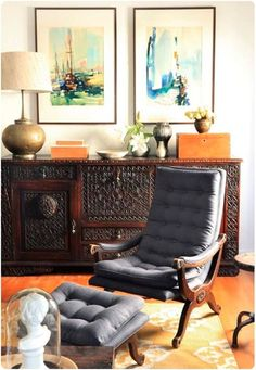 Love this art, vintage chair, brass lamp, and hellooooooo credenza (Emily Henderson of course)