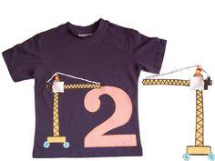 T-Shirts - Kran Baustelle Shirt Zahl nach Wahl Applikation - ein Designerstück von filafactum bei DaWanda