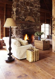 stone fireplace & mix of material