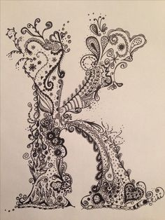 Letter K doodle art by Jasna Brockert I'm using this and part of an L to create my initials in one :D
