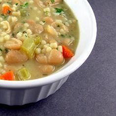 Tuscan faro bean soup. Recipe: http://www.epicurious.com/recipes/food/views/tuscan-farro-and-bean-soup-235425