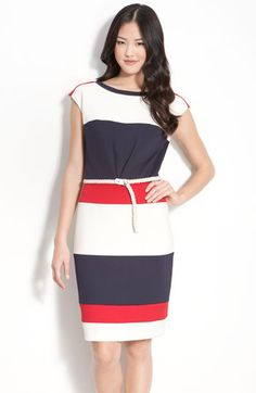 Maggie London 'Techno Stretch' Colorblock Jersey Sheath Dress. Perfect marriage of the nautical and colorblock trends.