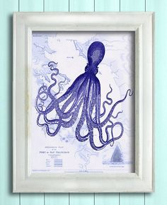 Vintage Blue Octopus Nautical Map Octopus print by NauticalNell
