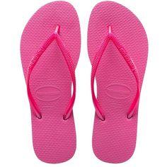 Havaianas Slim Sandal ($26) ❤ liked on Polyvore featuring shoes, sandals, flip flops, slim flip flops, neon pink sandals, bright shoes, havaianas shoes and strappy flip flops