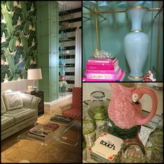 #hollywoodregency #modernregency #martiniquewallpaper #arsenic #stripes #flamingo #opalineglass #milkglass