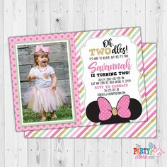 Minnie Mouse Invitation, Oh Twodles Invitation, Pink and Gold Minnie Mouse Birthday Invitations, Girls First Second Birthday Invite by ThePartyStork on Etsy Minnie Mouse Birthday Invitations, Mickey Mouse Invitation, Pink Invitations, Digital Invitations, Invite, Minnie Mouse Pink, It's Your Birthday, Pink And Gold, Party Themes