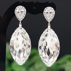 Swarovski crystal Navette drops Bridal Earrings - Earrings Nation