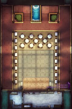 The Grand Hall : battlemaps Cartographers Guild, Scale Map, Rpg Map, Dnd Art, Dungeon Maps, Fantasy Map, Tabletop Rpg, Environment Concept, Map Design