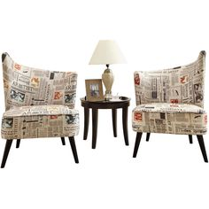 Georgina Right Swoop Accent Chair in Newspaper Print Fabric