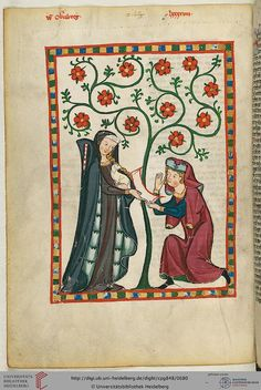 Manesse Codex is a book copied & illustrated between 1305 & 1340 in Zürich. Medieval Books, Medieval Life, Medieval Manuscript, Medieval Art, Renaissance Art, Illuminated Letters, Illuminated Manuscript, Courtly Love, Medieval Paintings