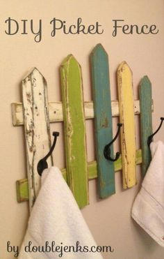 Picket Fence Towel Rack ein Tutorial von DIY Picket Fence Towel Rack ein Tutorial von Coat Rack, repurposed wood, OOAK Repurposed Coat Rack Projects All week long Craft Warehouse is going to share ideas with you on how to get organized th. Pallet Crafts, Pallet Art, Pallet Projects, Home Projects, Wood Crafts, Woodworking Projects, Pallet Fence, Diy Fence, Fence Landscaping