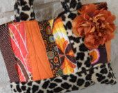 Leopard and Patchwork Handbag in Browns and Oranges