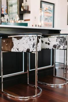 Furniture: Stainless Steel Cowhide Bar Stools For Modern Kitchen Counter Design Cowhide Bar Stools, Cowhide Decor, Bar Furniture, Cheap Furniture, Modern Furniture, Cowhide Furniture, Furniture Stores, Rustic Furniture, Western Style