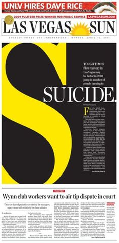 """This is an example of a striking layout because of the emphasis on the """"s"""" that grabs the readers attention, as do the contrasting colors of yellow and dark gray."""