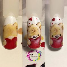 Cute and Romantic Valentine's Day Nail Art Designs Animal Nail Designs, Animal Nail Art, Cute Nail Designs, Cute Nails, Pretty Nails, Sharpie Nail Art, Valentine Nail Art, Heart Nail Art, Nail Art Hacks
