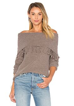 Palermo Off Shoulder Fringe Sweater