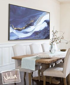 Odyssey canvas print with gold and black floater frame hanging in modern dining room. #Artwork #AbstractArt