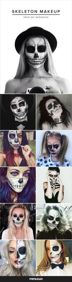 "57 Terrifyingly Cool Skeleton Makeup Ideas to Try For Halloween One of our favorite Halloween looks pulls from an iconic ""scary"" image: the skull. Try one of these stunning skeleton faces. Looks Halloween, Halloween Inspo, Halloween 2015, Halloween Party, Halloween Stuff, Halloween Night, Best Halloween Makeup, Halloween Costumes Women Scary, Cool Skeleton"