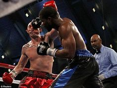 Boxer takes punch, face morphs into Halloween mask...