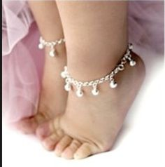 Adjustable 2 x Beautiful Baby Silver Jingly Christening Bangle Bracelete Anklet