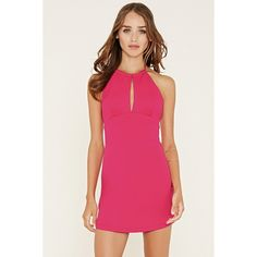 Forever 21 Women's  Scuba Knit Halter Dress ($23) ❤ liked on Polyvore featuring dresses, bodycon cocktail dress, forever 21 dresses, short bodycon dresses, pink dress and pink halter top