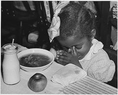 Child Praying Before School Lunch ~ Vintage Public Domain Pictures