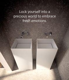 Lock yourself into a precious world to embrace fresh emotions. #washbasins #signconcept #bathroom #teso #design