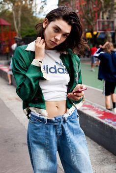 Jeans: green jacket boyfriend boyish unisex dope 90s style cropped t-shirt
