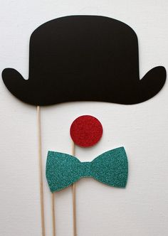 Derby Bowler Hat , Glittered Clown Nose and Glittered Bow Tie on a Stick -- Little Retreats