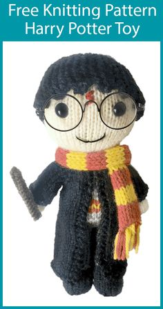 Free Knitting Pattern for Harry Potter Doll Free Knitting Pattern for Harry Potter Doll - Toy softie of the famous boy wizard complete with wand, wizard robes, and . Knitting Dolls Free Patterns, Knitted Dolls Free, Knitted Bunnies, Knitted Teddy Bear, Free Knitting, Baby Knitting, Knitting Toys, Tricot Harry Potter, Harry Potter Toys