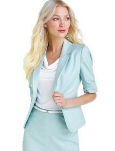 Notched Collar and Lapel    Slubbed Shirred-sleeve Jacket