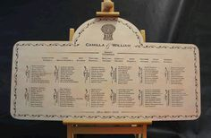 Engraved Wooden Wedding Table Plans - made in the UK.