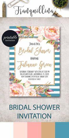 Floral Bridal Shower Invitation Nautical Bridal Shower Invitation Spring summer bridal shower party ideas, Blue Pink invitation #summer #bridalshower #BridalShowerIdeas