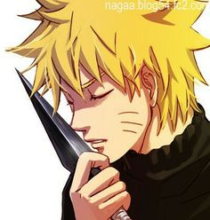 He looks like he's about to make out with the kunai....... While kissing sharp objects is frowned upon where I come from this is hot.
