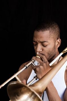 Troy Andrews, aka Trombone Shorty, with his Edwards trombone, in New Orleans on May 7, 2011    Photo by Eric Kiel