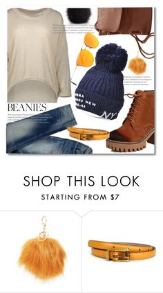 """pom beanie blue"" by paculi ❤ liked on Polyvore featuring Charlotte Russe, Gucci and Furla"