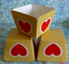 Red Heart Gold cupcake square Cupcake Liners by GORGEOUSCUPS, $3.99