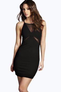 Jennie Mesh Insert Bodycon Dress at boohoo.com