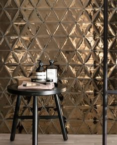 Metalic effect tiles shaped as triangles to join together, create an interesting look. Home Interior Design, Home Design, Interior Decorating, Bathroom Inspiration, Interior Inspiration, Decoration Bedroom, Kitchen Wall Tiles, Love Home, Stone Tiles