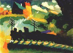 Murnau view with railway and castle, 1909, Wassily Kandinsky Size: 36x49 cm Medium: oil on cardboard