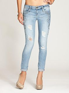 Kate Low-Rise Skinny Jeans with Western Embellishments #GUESS #ANTM