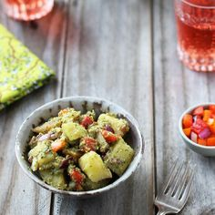 Potato Salad with Dill Pesto and Roasted Red Bell Peppers.