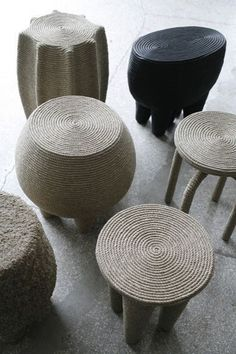 Christen Astugueville - Rope Stool Really! You can cover any stool in rope. Wooden Stool Designs, Wooden Stools, Diy Inspiration, Decoration Inspiration, Diy Furniture, Furniture Design, Painting Wooden Furniture, Multifunctional Furniture, Plywood Furniture