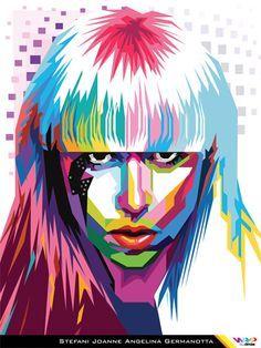 https://flic.kr/p/9va1qa | LADY GAGA in WPAP (Wedha's Pop Art Portrait) By Dimas | WPAP 2010 by dimas