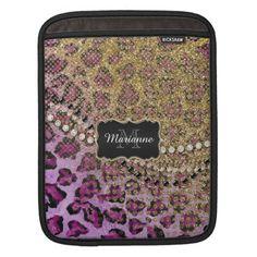 Purple Gold Leopard Animal Print Glitter Look iPad Sleeve